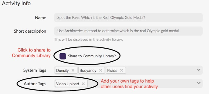 When viewing an activity in edit mode, you can share it to the Community Library and add tags so other users can find and use your activity.